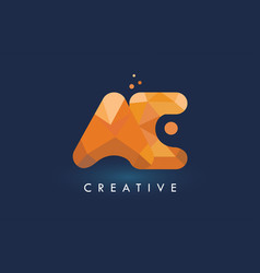Ae letter with origami triangles logo creative vector