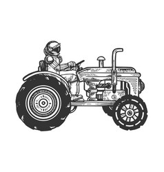 astronaut ride tractor sketch engraving vector image