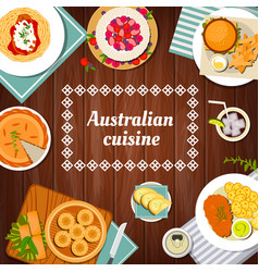Australian food cuisine menu dishes and meals vector