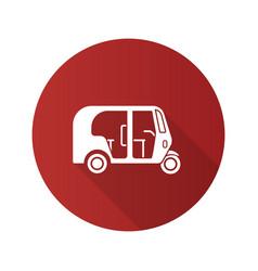 Auto rickshaw flat design long shadow glyph icon vector