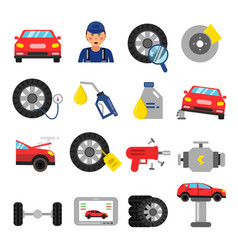 automobile parts wheels and tires service cars vector image