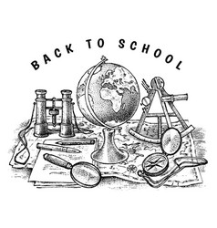 Back to school poster geography banner for web vector