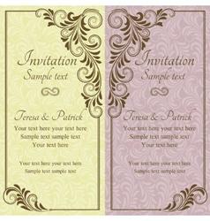 Baroque wedding invitation pink and yellow vector