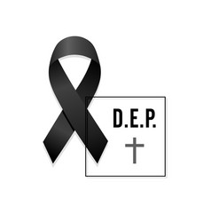 Black ribbon rest in peace spanish text with frame vector