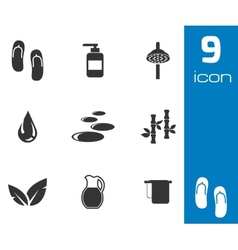 black spa icons set vector image