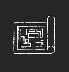 Blueprint chalk white icon on black background vector