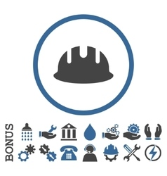 Builder Hardhat Flat Rounded Icon With vector