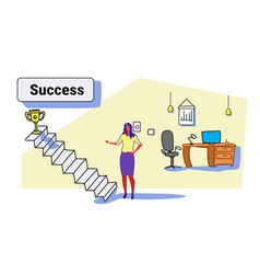 businesswoman climbing stairs career ladder up to vector image