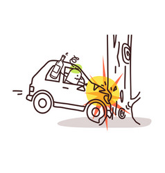 Cartoon characters and car - car crash on tree vector