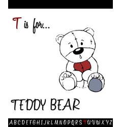 Cartoon of capital letter t with teddy bear vector