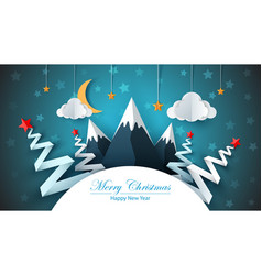 cartoon paper happy new year merry christmas vector image