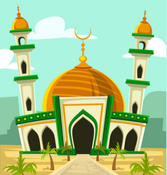 Cartoon typical mosque building with golden dome vector