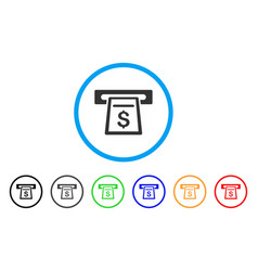 cash machine rounded icon vector image vector image