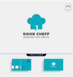 chef door restarant food store simple flat logo vector image