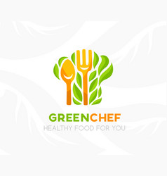 chef hat with leaves logo template vector image