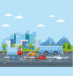 City transportation and mobility cartoons vector