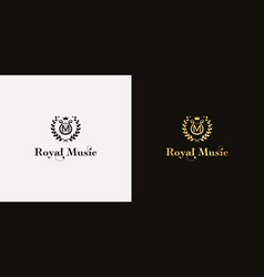 classic royal music logotype with letter m vector image