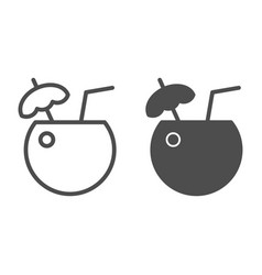 coconut cocktail line and glyph icon drink vector image