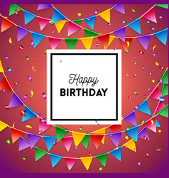 colorful happy birthday card with flags image vector image