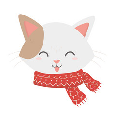 Cute cat face with scarf tongue out celebration vector