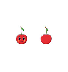 cute kawaii cherry cartoon ripe fruit vector image