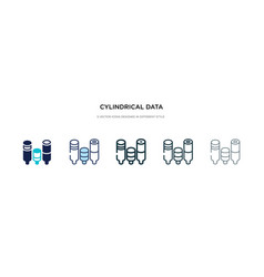 Cylindrical data graphic icon in different style vector