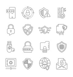 data privacy icons set included the icons as vector image