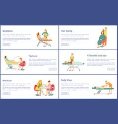 Depilation pedicure manicure posters set vector