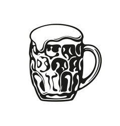 Dimpled glass beer mug hand drawn vector