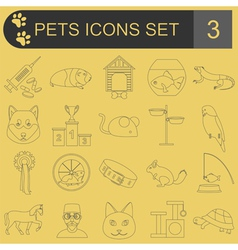 Domestic pets and vet healthcare flat icons set vector image