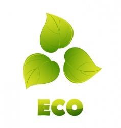 eco logo green leaves vector image