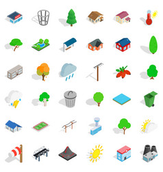 Ecologization icons set isometric style vector