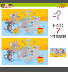 Find differences game with mice animal characters vector