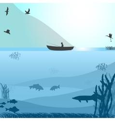 Fishing on the wild lake vector image