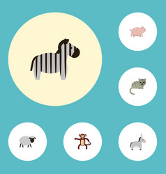 flat icons kitty jackass mutton and other vector image
