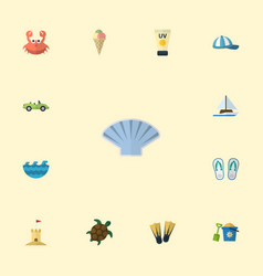 flat icons tortoise conch slippers and other vector image