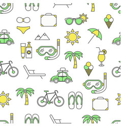 flat line art summer seamless pattern vector image