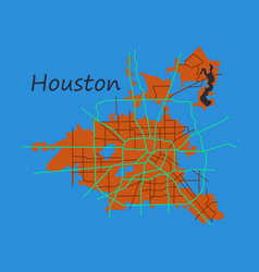 Flat map houston city texas roads vector
