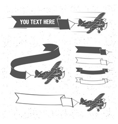 flying vintage plane with the banner aviation vector image
