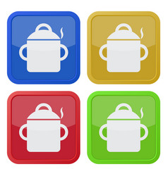 four square color icons cooking pot with smoke vector image