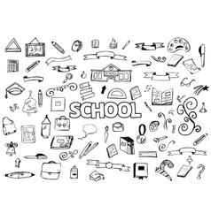 Freehand drawing doodles items back to school vector