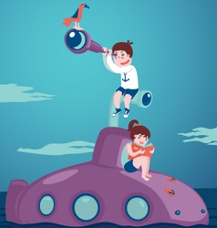 Girl and boy on submarine vector