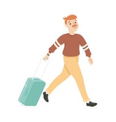 guy hurrying to flight at airport young man vector image