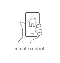 Hand holding mobile phone controls smart home vector