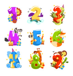 happy birthday anniversary numbers with cute vector image