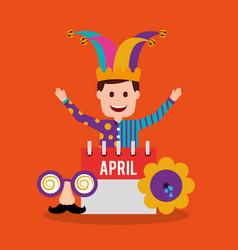happy joker with calendar vector image