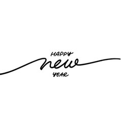happy new year line calligraphy vector image