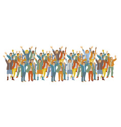 Horizontal big group happy people vector