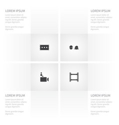 Icon film set of man film camera and other vector