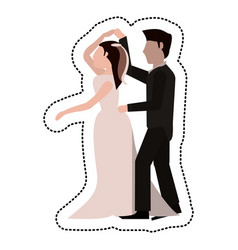 just married couple dancing together vector image